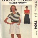 McCALL'S PATTERN 7954 DATED 1982 MISSES' SKIRT IN TWO LENGTHS SIZE SMALL 10-12