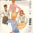 McCall's pattern 7653 dated 1981 Misses' SHIRT IN 4 VARIATIONS 14