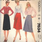 McCall's pattern 7634, dated 1981, Misses' WRAP SKIRT 2 Variations Size 14
