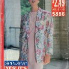 BUTTERICK PATTERN 5886 dated 1981, Misses' JACKET AND DRESS Sizes 6-8-10