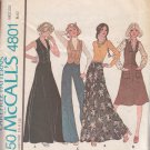 McCALL'S PATTERN 4801 MISSES' UNLINED VEST, SKIRT AND PANTS SIZE 8