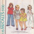 McCALL'S PATTERN 5130 CHILD'S DRESS OR TOP WITH EMBROIDERY TRANSFER SIZE 4