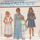 McCALL'S PATTERN 5278 GIRL'S DRESS 2 LENGTHS, PINAFORE APRON SIZE 8