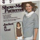 McCALL'S PATTERN 6011 MISSES' JACKET AND VEST SIZES 10/12/14