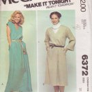 McCALL'S PATTERN 6372 MISSES' DRESS IN 2 VARIATION, 2 LENGTHS SIZES 10/12/14