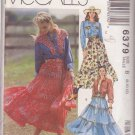 McCALL'S PATTERN 6379 MISSES' SHIRT, SKIRT, BELT SIZES 8/10/12