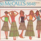 McCALL'S PATTERN 5648 MISSES' TOPS IN 5 VARIATIONS, SKIRT SIZE PETITE 6/8 UNCUT