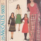 McCALL'S PATTERN 5802 MARLO THOMAS MISSES' TOP, SKIRT 2 LENGTHS SZ 8 UNCUT