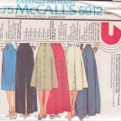 McCALL'S PATTERN 5912 MISSES' SKIRTS 2 LENGTHS, 6 VARIATIONS SZ 14/16/18 UNCUT