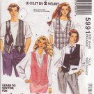 McCALL'S PATTERN 5991 MISSES' OR MEN'S VEST IN 3 VARIATIONS SIZES XL 44/46