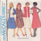 McCALL'S PATTERN 5992 MISSES' DRESS IN 3 VARIATIONS AND VEST SZ 8 UNCUT