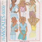 McCALL'S PATTERN 6009 MISSES' SET OF TOPS IN 3 VARIATIONS SIZE PETITE 6/8 UNCUT