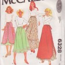 McCALL'S PATTERN 6328 MISSES' SKIRTS IN 3 VARIATIONS SIZE PETITE 6/8 UNCUT