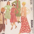 McCALL'S PATTERN 6344 MISSES' JACKET, VEST, DRESS, TOP, SKIRT SZ 16/18/20 UNCUT