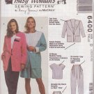 McCALL'S PATTERN 6400 MISSES' JACKET, TOP, PANTS, SHORTS SIZES 12/14/16 UNCUT