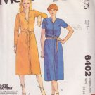 McCALL'S PATTERN 6402 MISSES' DRESS IN 2 VARIATIONS SIZES 12/14/16 UNCUT