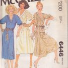 McCALL'S PATTERN 6446 MISSES' DRESS OR TOP, SKIRT SIZE PETITE 6/8 UNCUT