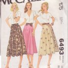 McCALL'S PATTERN 6493 MISSES' SET OF SKIRTS SIZE 14 UNCUT