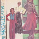 McCALL'S PATTERN 5708 MISSES' VEST, BLOUSE, SKIRT AND PANTS WESTERN THEME SIZE 8 UNCUT