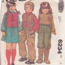 McCALL'S PATTERN 6234 CHILD'S VEST, TOP, PANTS, HAT, GIRLS' SKIRT SIZE 6 UNCUT
