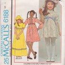 McCALL'S PATTERN 6188 GIRLS' DRESS IN 2 LENGTHS, HAT SIZE 6 UNCUT