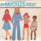 McCALL'S PATTERN 6200 GIRLS' HOODED JACKET, TOP, SKIRT, PANTS, SHORTS SZ 6