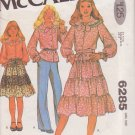 McCALL'S PATTERN 6285 GIRLS' BLOUSE AND WRAP SKIRT SIZE 12