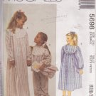 McCALL'S PATTERN 5698 GIRLS' NIGHTGOWN, PAJAMAS, BOOTIES, DOLL SIZE XS 2/4