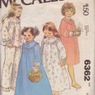 McCALL'S PATTERN 6362 GIRLS' ROBE, NIGHTGOWN, PAJAMAS SIZE MEDIUM 8/10