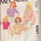McCALL'S PATTERN 6367 MISSES' BLOUSES IN 4 VARIATIONS SIZE 10