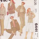 McCALL'S PATTERN 6441 MISSES' LINED JACKET, SKIRT, PANTS SIZE 12 UNCUT