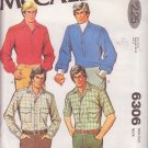 McCALL'S PATTERN 6306 MEN'S SHIRT IN 4 VARIATIONS SIZE 42 UNCUT