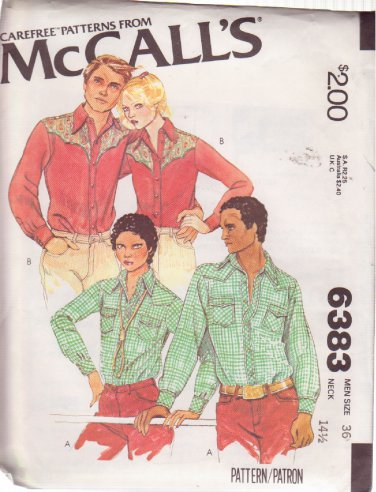 McCALL'S PATTERN 6383 MEN'S WESTERN SHIRT IN 2 VARIATIONS SIZE 36 UNCUT