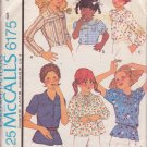 McCALL'S PATTERN 6175 GIRLS' SET OF BLOUSES IN 6 VARIATIONS SIZE 4