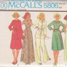 McCALL'S PATTERN 5806 MISSES' DRESS OR JUMPSUIT, UNLINED JACKET SIZE 10