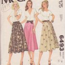 McCALL'S VINTAGE PATTERN 6493 MISSES' SKIRT IN 2 VARIATIONS SIZE 14