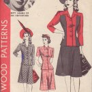 HOLLYWOOD VINTAGE PATTERN 820, 1940'S, 2 PIECE DRESS SIZE 14 BETTY GRABLE