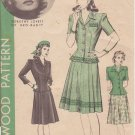 HOLLYWOOD VINTAGE PATTERN 1119, 1940'S, 2 PIECE DRESS 3 VARIATIONS SZ 12 DOROTHY LOVETT