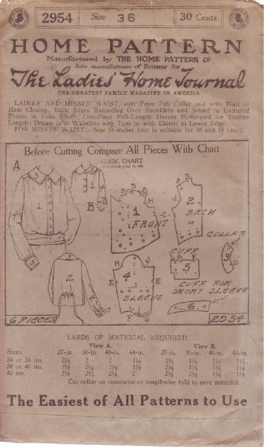 LADIES HOME JOURNAL PATTERN 2954 DATED 1908 MISSES' BLOUSE SZ 46