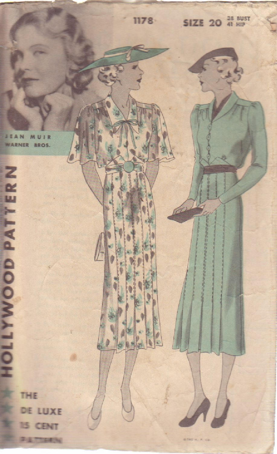 HOLLYWOOD PATTERN 1178 MISSES' 1 PC FROCK 2 VARIATIONS SIZE 20 JEAN MUIR
