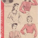 HOLLYWOOD VINTAGE PATTERN 1165, 1940'S BLOUSE 4 STYLES SIZE 18 RUTH WARRICK