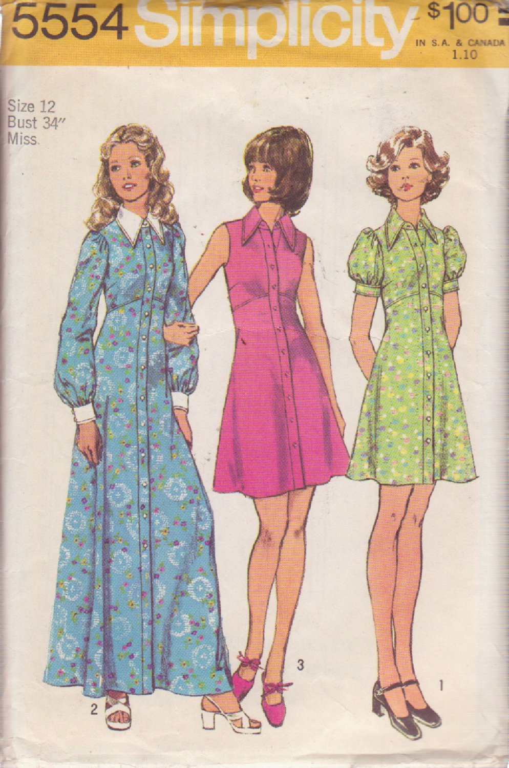 SIMPLICITY 5554 VINTAGE PATTERN MISSES' DRESS IN MINI OR MAXI LENGTHS SIZE 12