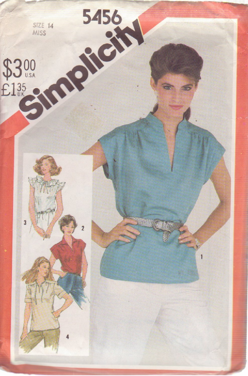 SIMPLICITY 5456 VINTAGE PATTERN MISSES' BLOUSE IN 4 VARIATIONS SIZE 14