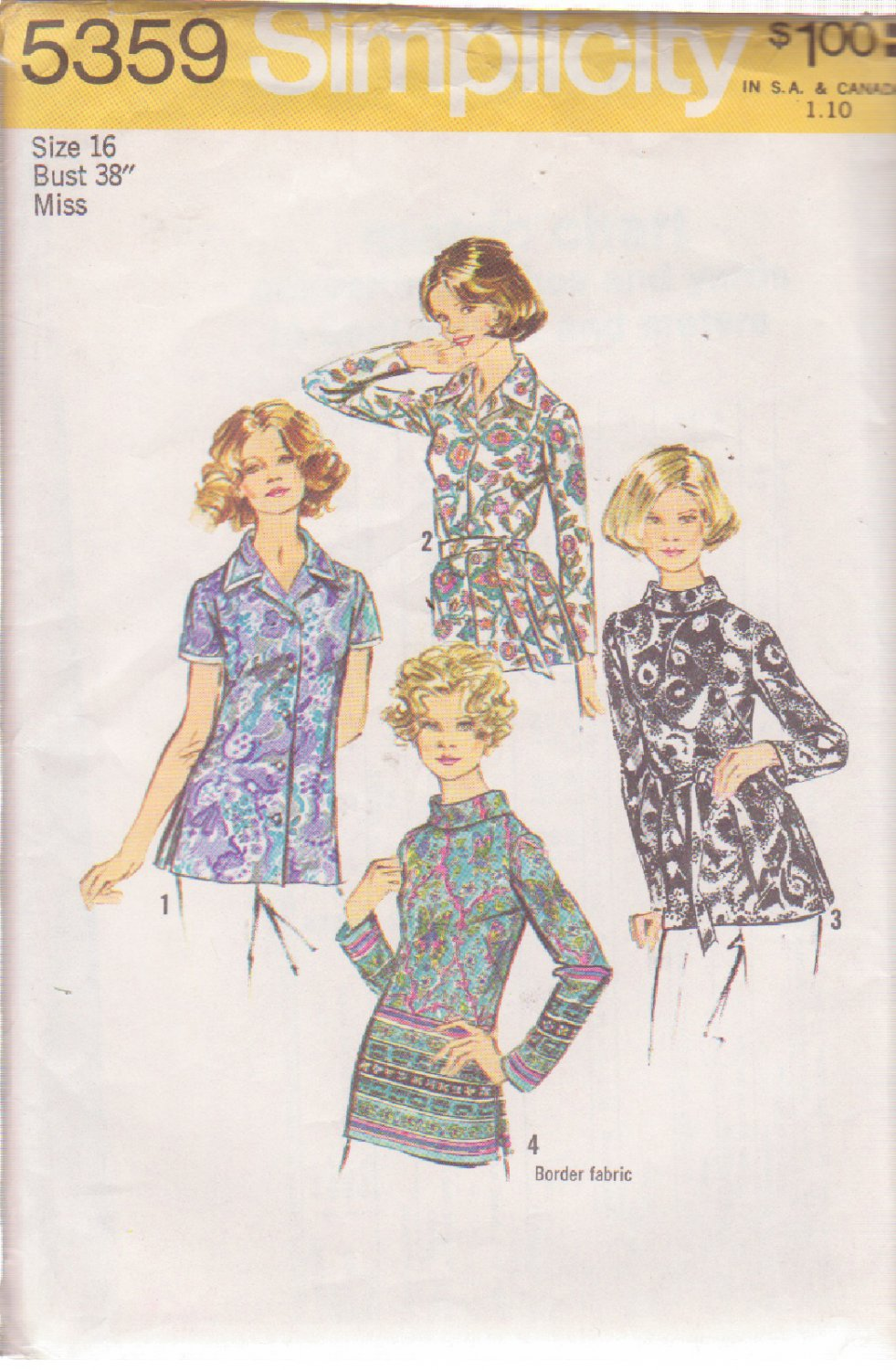 SIMPLICITY 5359 VINTAGE PATTERN MISSES' BLOUSES IN 4 VARIATIONS SIZE 16