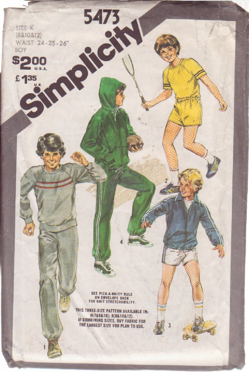 SIMPLICITY PATTERN 5473 BOYS' JACKET WITH HOOD, TOPS, PANTS, SHORTS SZS 8/10/12