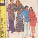 McCALL'S PATTERN 3738, DATED 1973, UNISEX ROBES SIZE SMALL 30-32 UNCUT