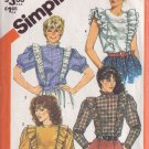 SIMPLICITY VINTAGE PATTERN 5752 MISSES' ASYMMETRICAL BLOUSE IN 4 VARIATIONS SZ 8
