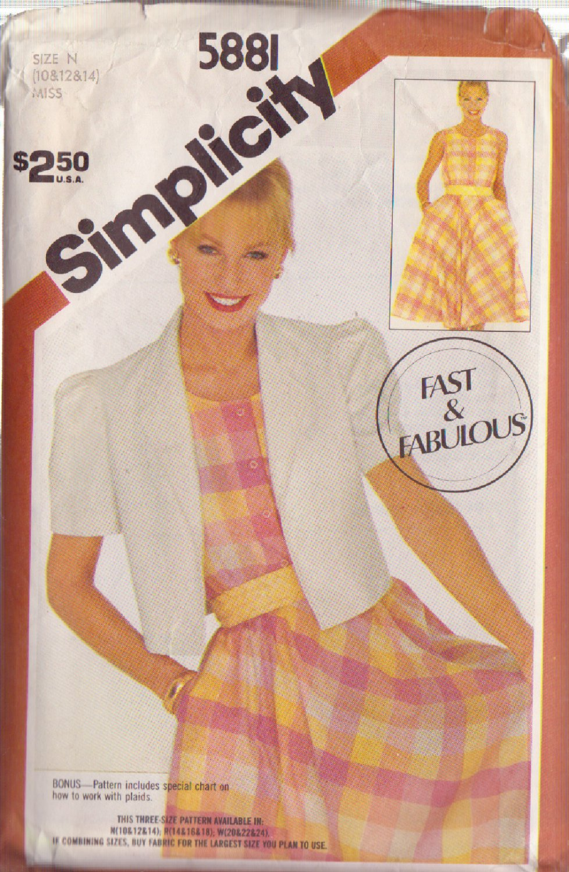 SIMPLICITY VINTAGE PATTERN 5881 MISSES' PULLOVER DRESS, JACKET SZS 10/12/14
