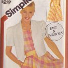 SIMPLICITY VINTAGE PATTERN 5881 MISSES' PULLOVER DRESS, JACKET SZS 10/12/14