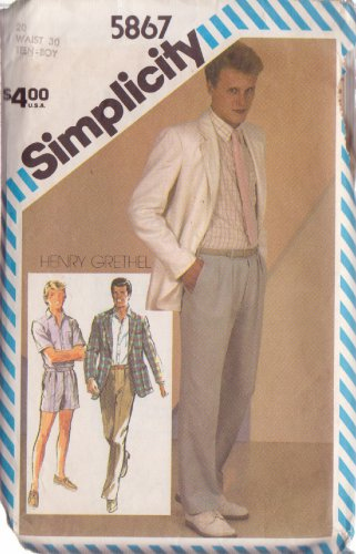 SIMPLICITY VINTAGE PATTERN 5867 TEEN BOY'S PANTS, SHORTS, SHIRT, UNLINED JACKET SIZE 20